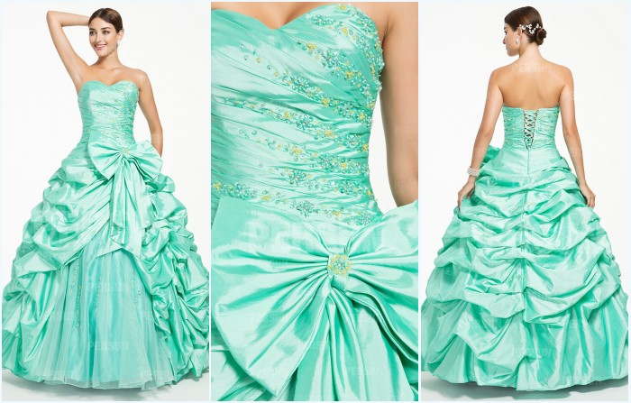 robe de soirée verte bustier coeur avec grand nœud papillon
