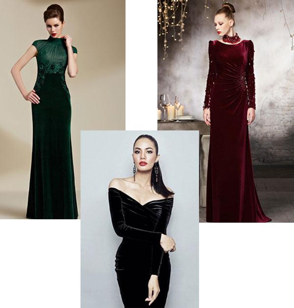 robes de soirée en velours pour mariage