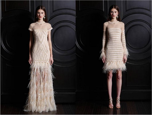 robes nude avec plumes