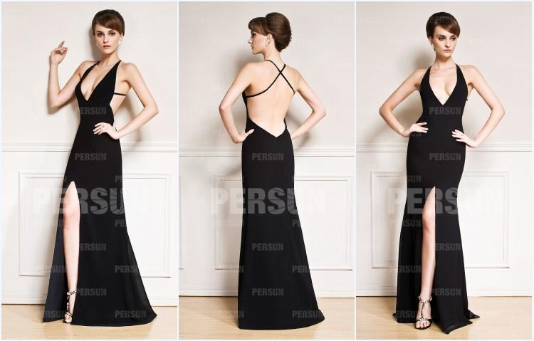 robe de soirée noire fendue sexy dos nu
