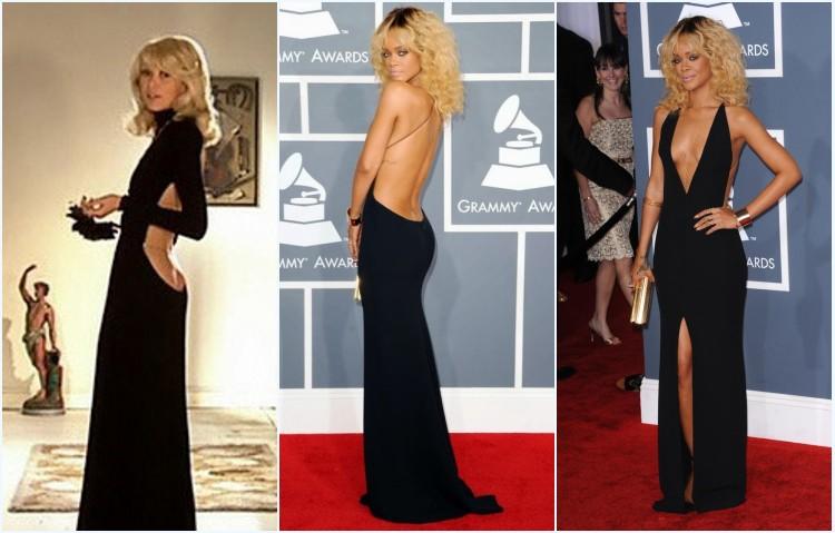 Mireille Darc et Rita Ora en les robes de soirée noires sexy dos nu