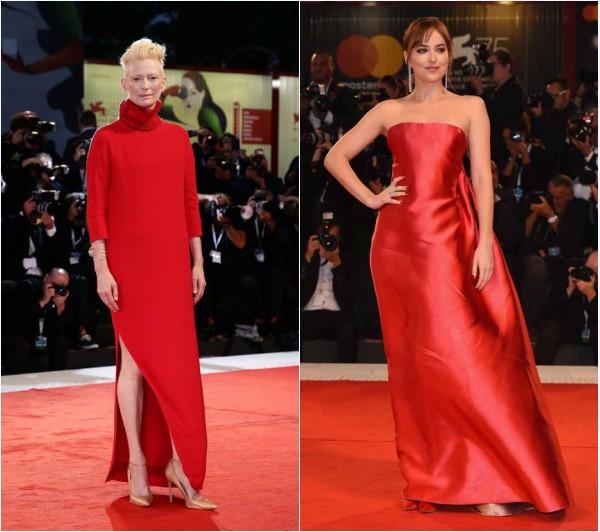 Dakota Johnson en Dior et Tilda Swinton en Delfina Delettrez au Festival du film de Venise 2018