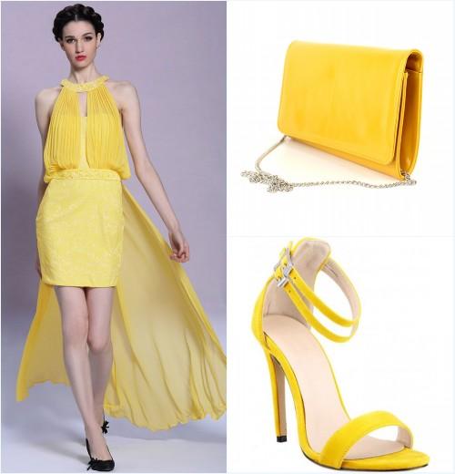 robe style bascule, pochette et sandale jaune