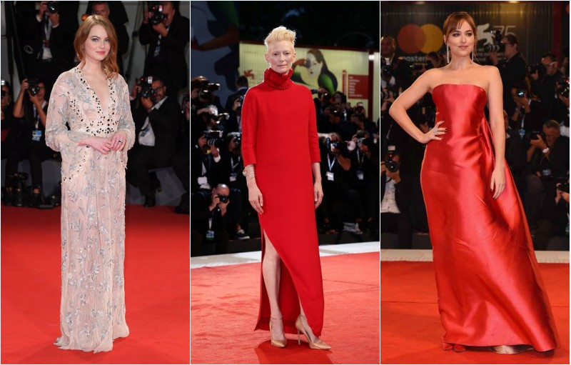 robes de Emma Stone, Emma Stone et Dakota Johnson au Festival du film de Venise 2018