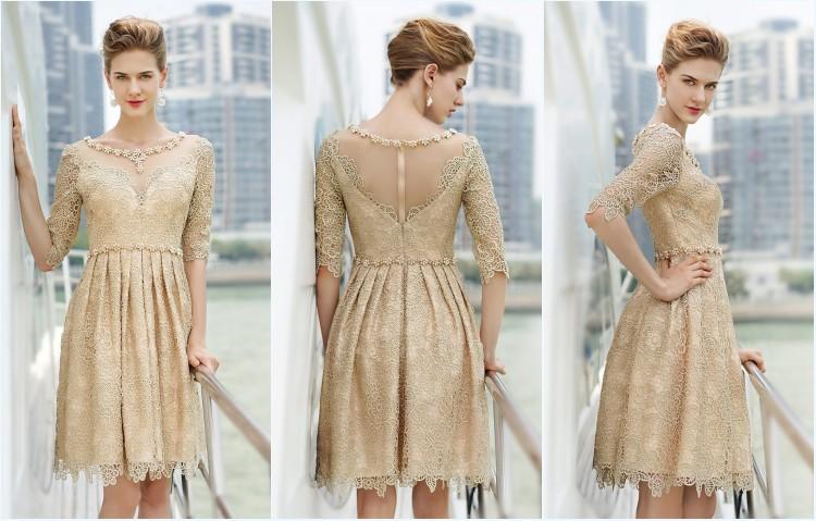 robe plage champagne courte avec manche appliqué de dentelle