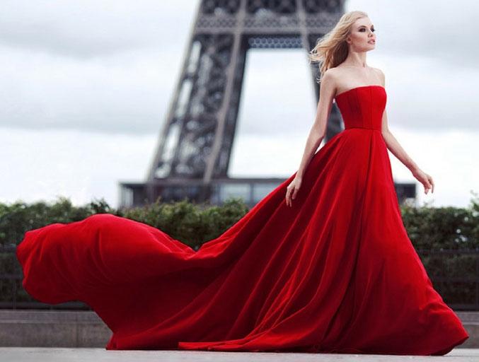 robe rouge longue bustier droit