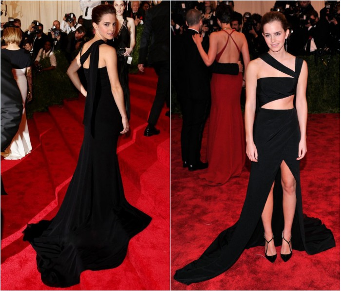 robe de soirée noire sexy découpé Emma Watson au Met Gala