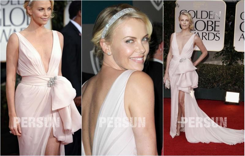 robe de soirée rose fendue sexy col en V Charlize Theron
