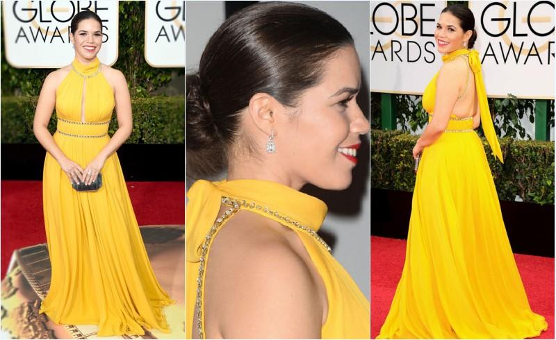 robe de soirée longue jaune découpé America Ferrera aux Golden Globes Awards