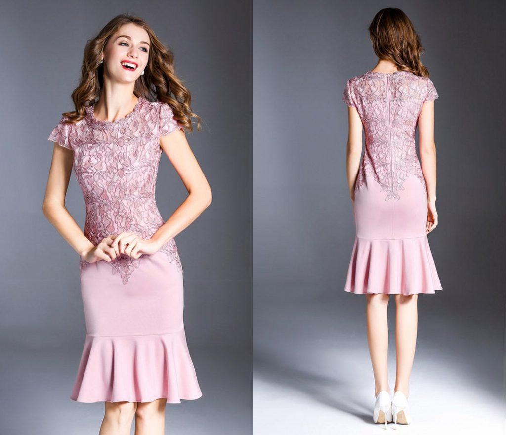 robe de cocktail sirène élégante rose en dentelle appliquée avec manches courtes