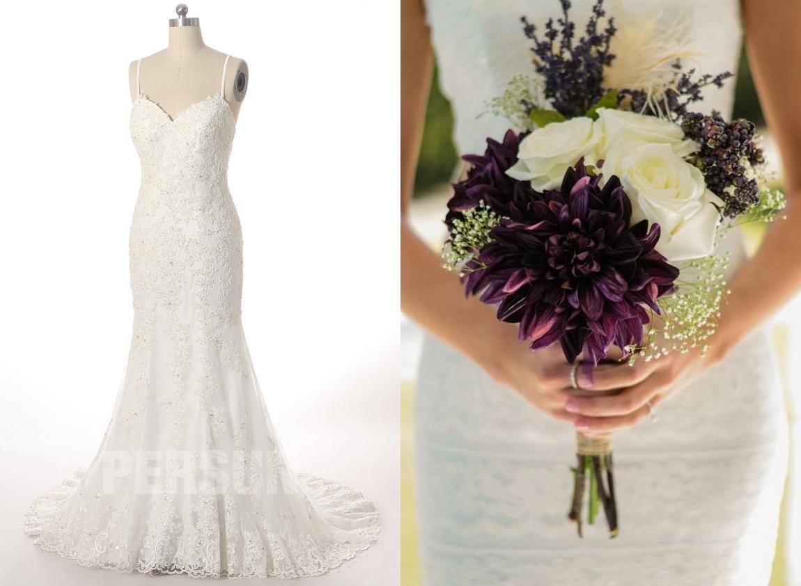 robe de mariée sirène bustier coeur couvert de dentelle appliquée de fleurs avec traîne