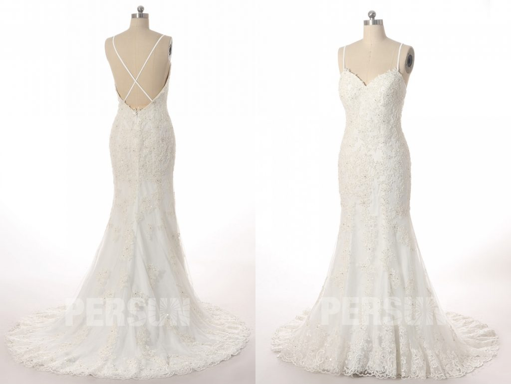 robe de mariée sexy sirène en dentelle appliquée florales butier coeur dos nu avec traîne