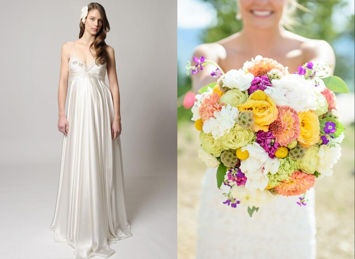 robe de mariée enceinte empire bustier plissé embelli de strass avec bretelles transparentes en satin de soie