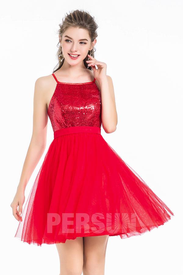 robe de cocktail rouge courte haut en paillettes et jupe évasée avec bretelles fines