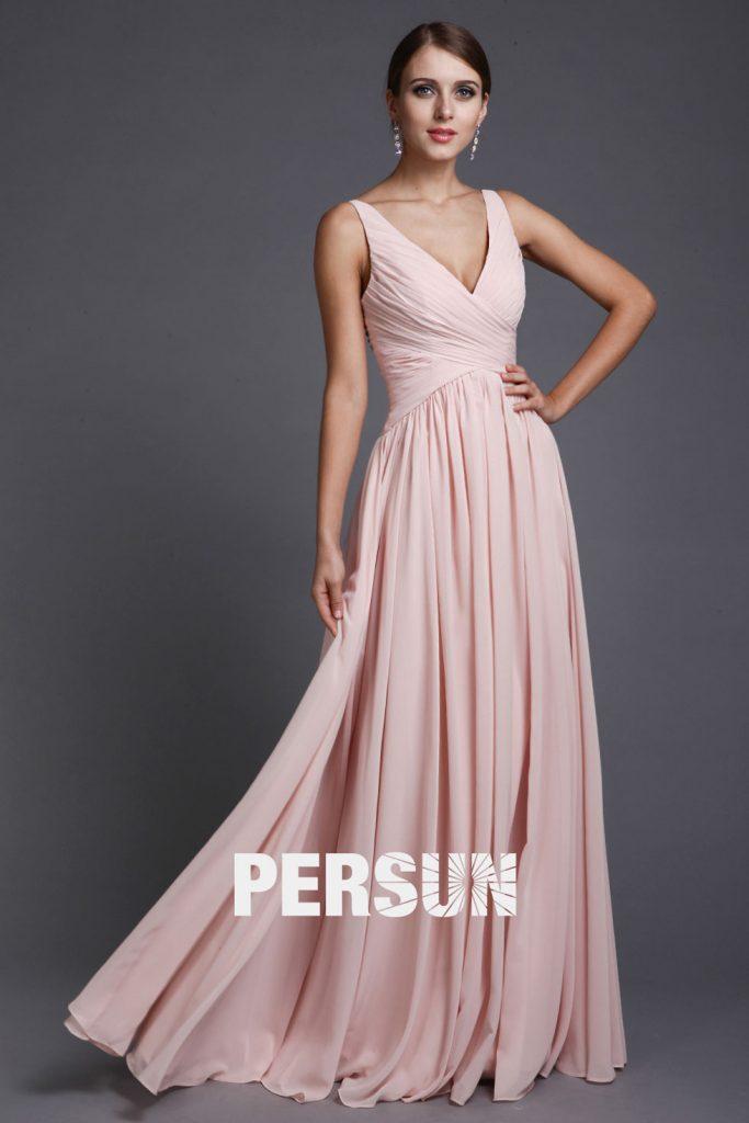 robe de soirée empire simple rose longue bustier plissé col v