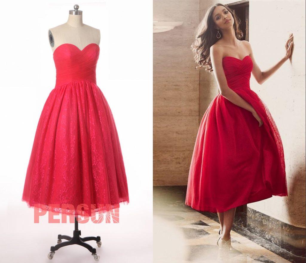 robe de soirée mi-longue rouge bustier coeur plissé jupe en dentelle appliquée