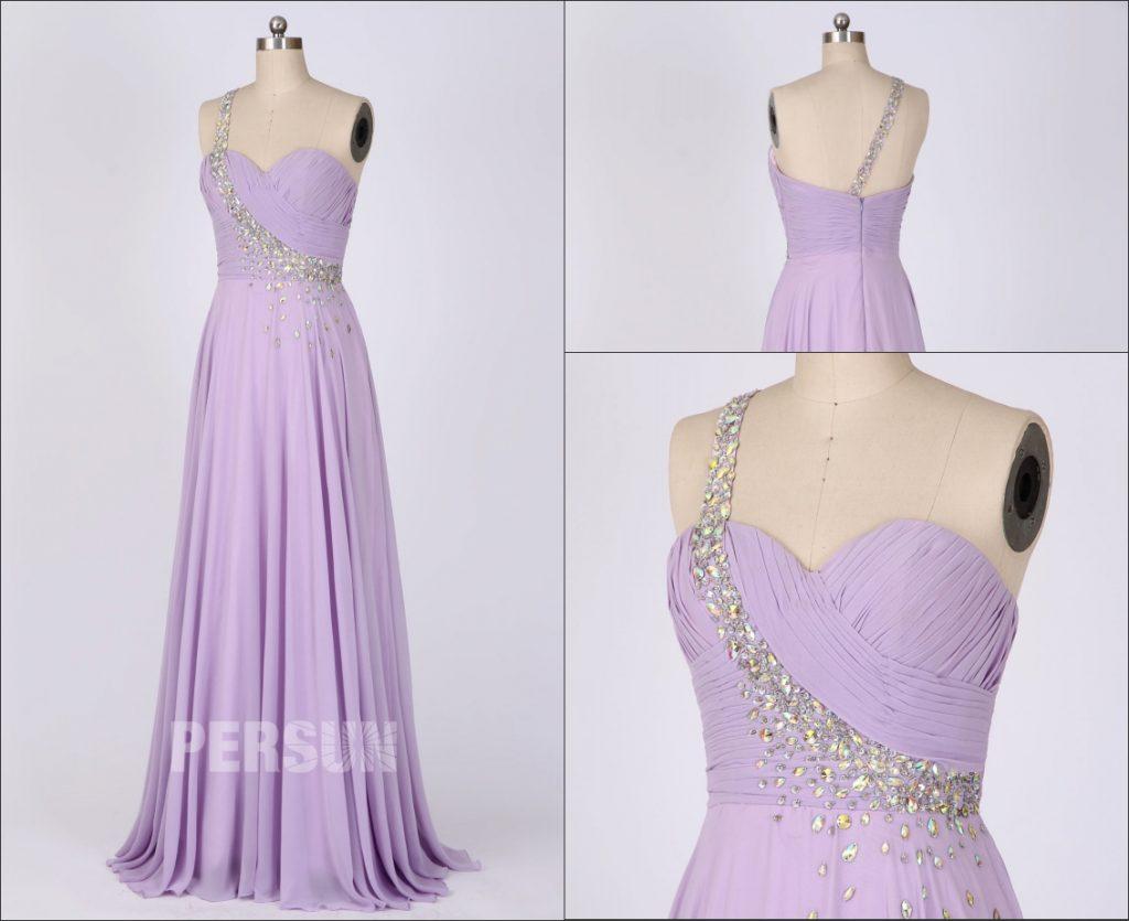 robe demoiselle d'honneur longue lilas asymétrique bustier drapé embelli de strass délicats