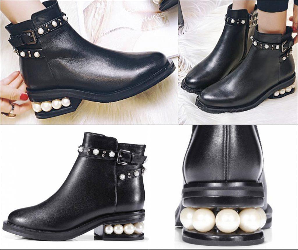 bottine talon ornée de perles et de boucles noire