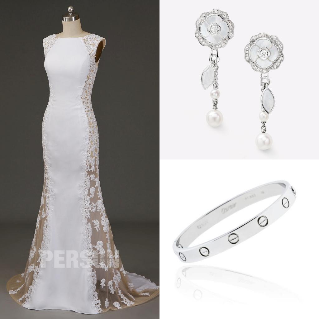 robe de mariée sexy sirène côté transparent embelli de dentelle appliqué