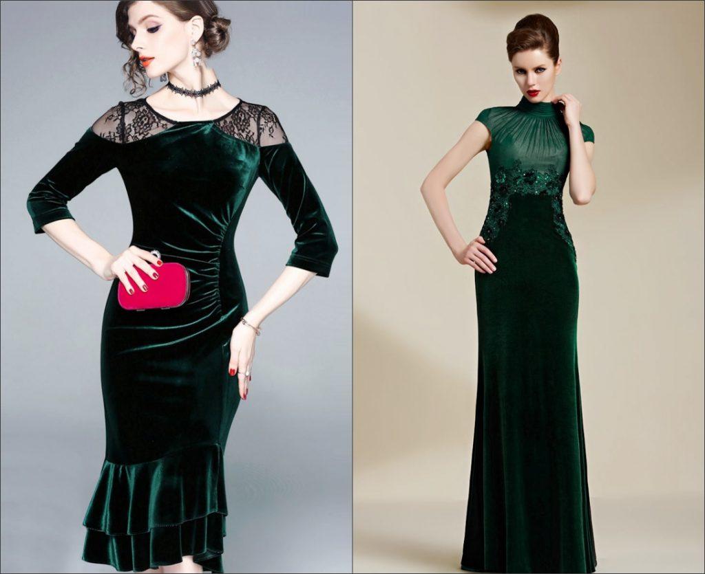 robe de soirée verte avec manches en velours pour l'automne