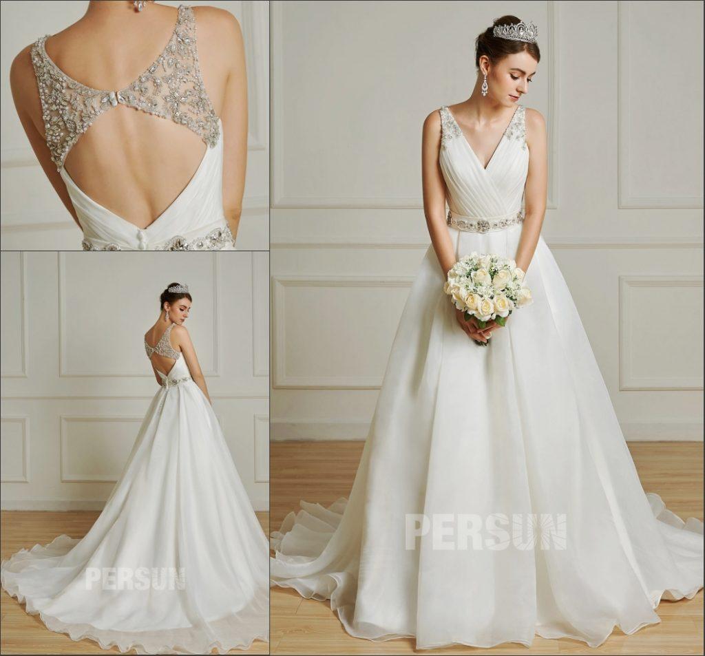 robe de mariée bustier drapé cache-coeur taille et bretelle brodées de strass et perles dos nu