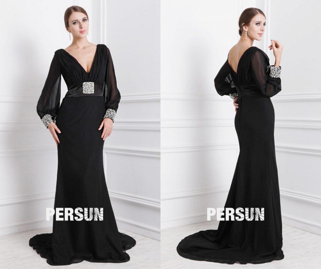 robe de soirée longue noire col v manches longues taille ornée de broche avec traîne