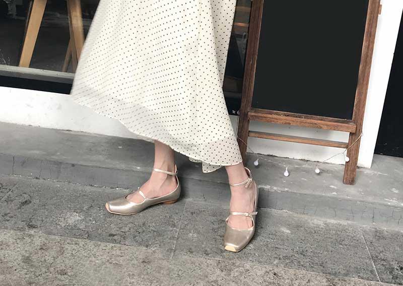 escarpin ballerine argenté vintage femme