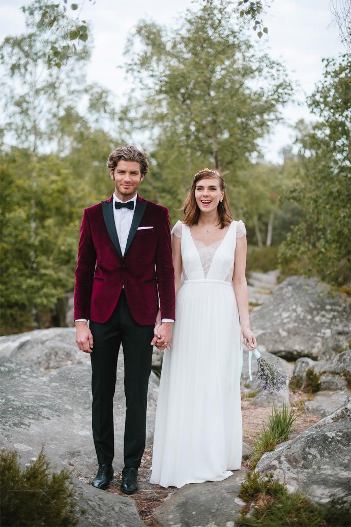 costume marié bordeaux automnal en velours