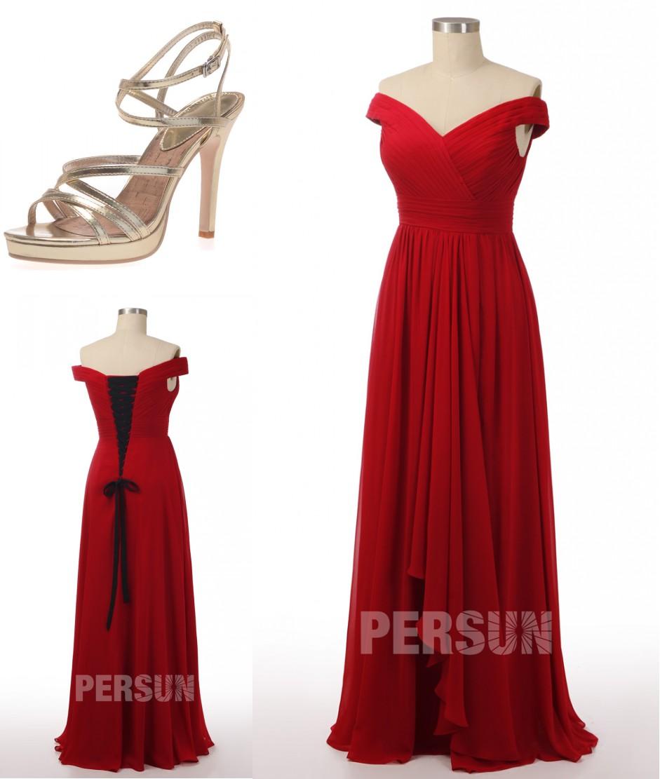 robe de soirée longue rouge épaule dénudé drapé jupe cascade