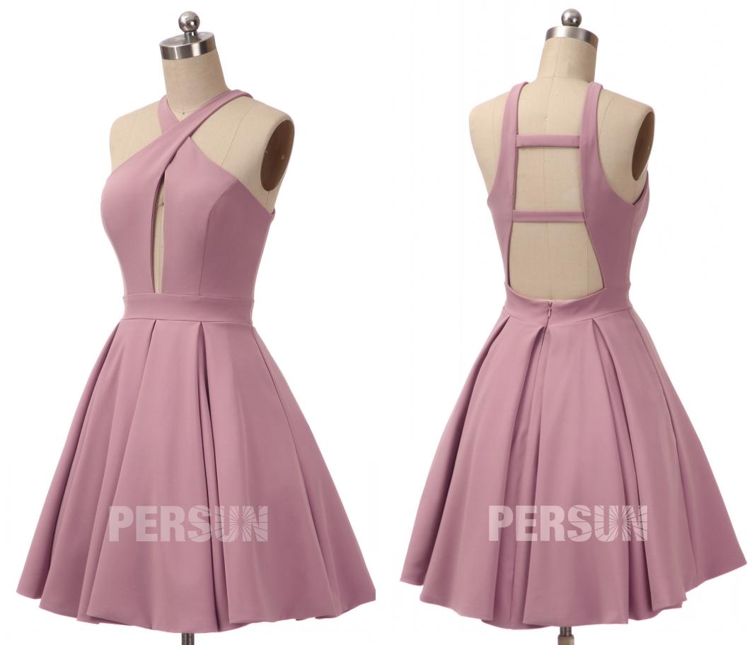 robe de soirée courte rose parme col halter dos nu et bustier découpé