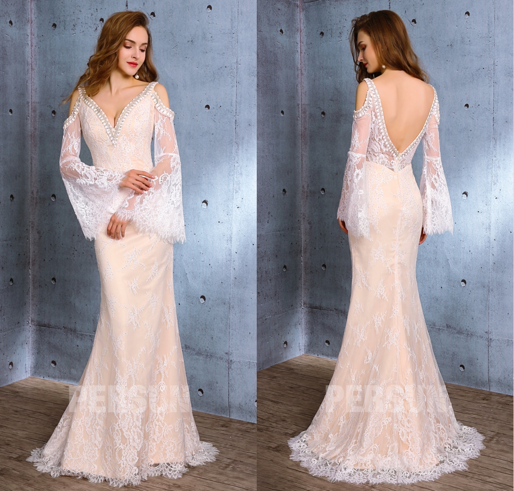sexy robe mariée sirène col v dos nu épaule dénudé manche en dentelle