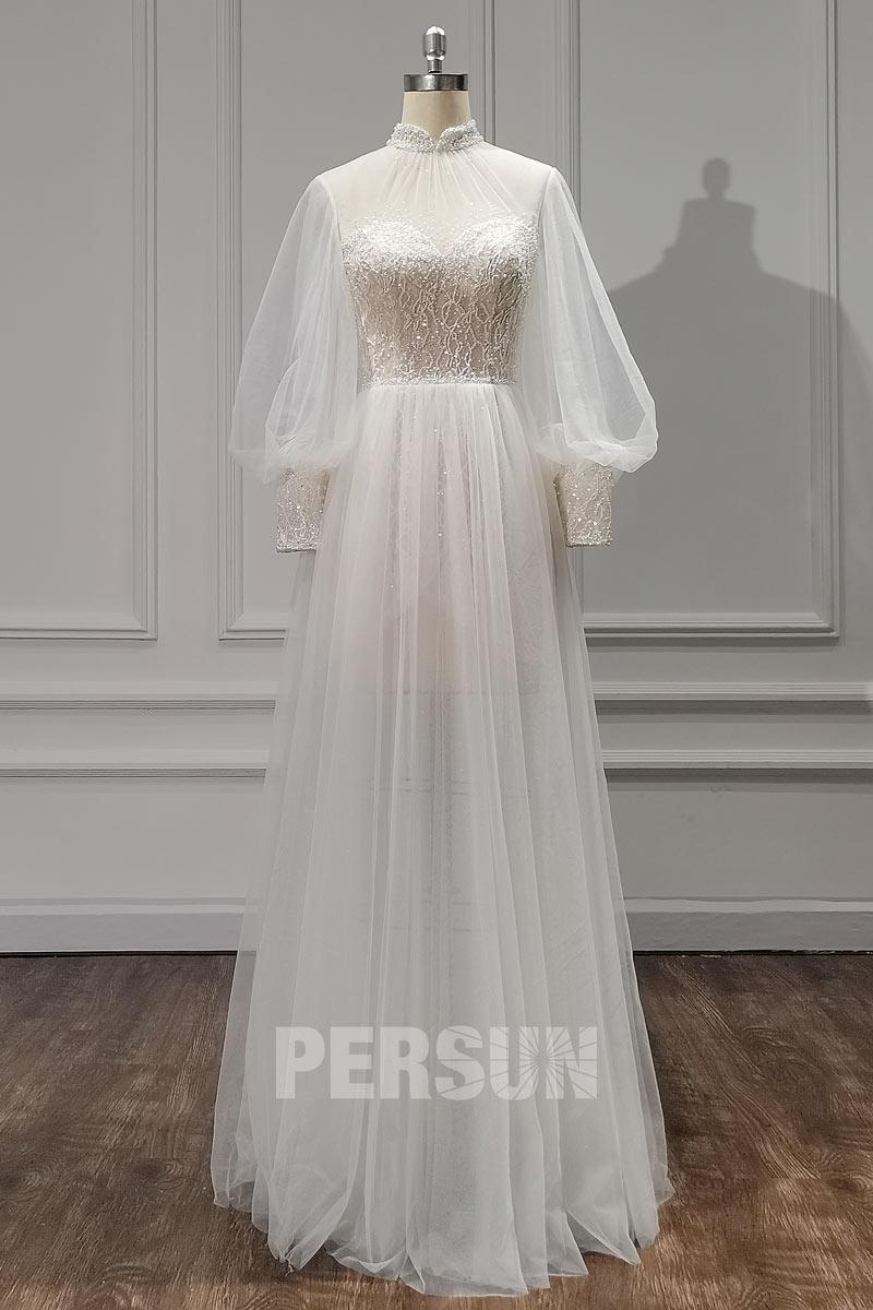 robe de mariée 2021 boho col haut illusion en dentelle perlé manches longue bouffante