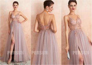 robe de soirée fendue rose parme dos ouvert haut transparent embelli de bijoux exquis