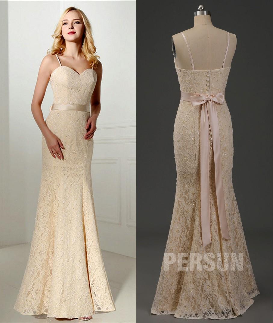 robe de mariée champagne sirène en dentelle à bretelle fine